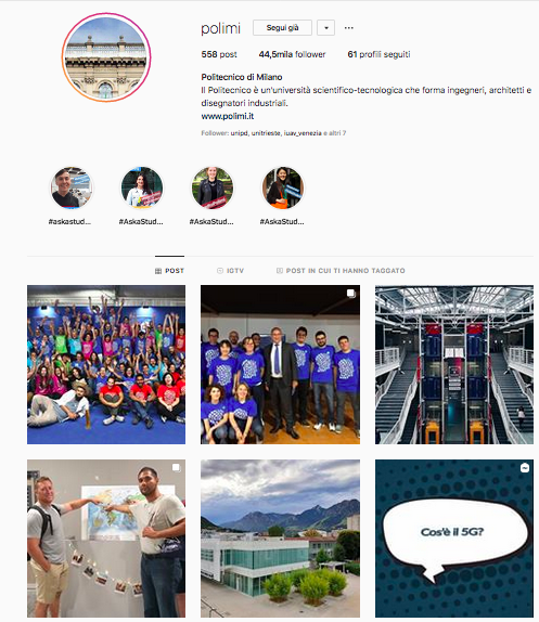 instagram università profilo polimi